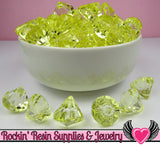 12 Lemon Yellow Bling Diamond Pendant Drop Beads 15x16mm - Rockin Resin  - 2