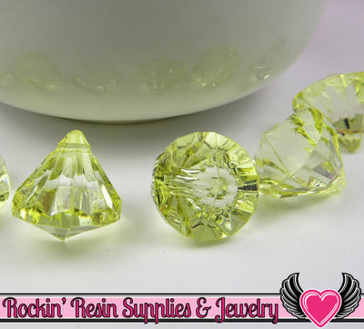 12 Lemon Yellow Bling Diamond Pendant Drop Beads 15x16mm - Rockin Resin  - 1