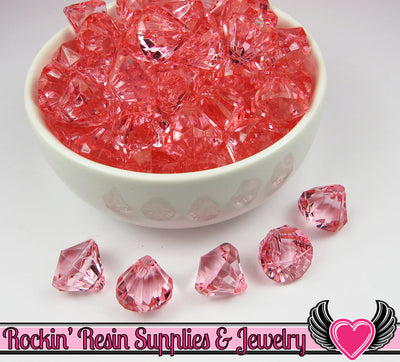 12 Pink Grapefruit Bling Diamond Pendant Drop Beads 15x16mm - Rockin Resin  - 1