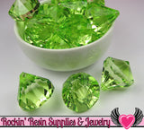 5 Peridot Green Bling Diamond Pendant Drop Beads 28x31mm - Rockin Resin  - 3