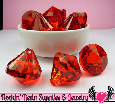 5 Ruby Red Bling Diamond Pendant Drop Beads 28x31mm - Rockin Resin  - 1