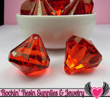 5 Ruby Red Bling Diamond Pendant Drop Beads 28x31mm - Rockin Resin  - 3