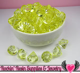 12 Lemon Yellow Bling Diamond Pendant Drop Beads 15x16mm - Rockin Resin  - 3
