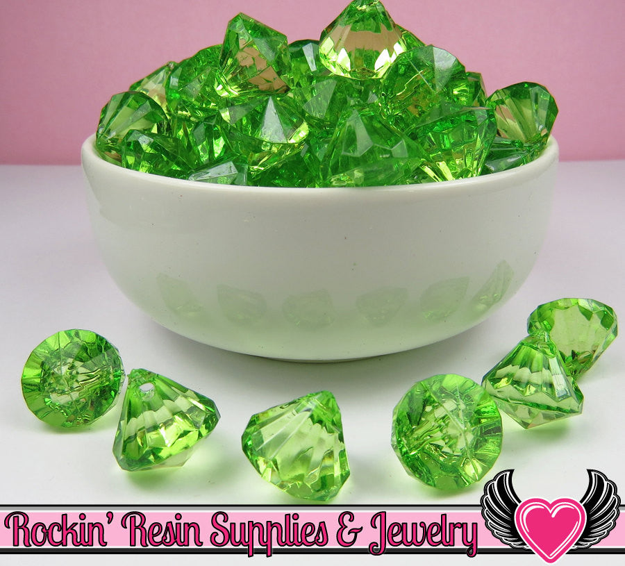 12 Peridot Green Bling Diamond Pendant Drop Beads 15x16mm