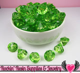 12 Peridot Green Bling Diamond Pendant Drop Beads 15x16mm - Rockin Resin  - 2