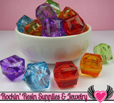 20mm Faceted Cube Chunky Bubblegum Beads 8 pieces - Rockin Resin  - 2