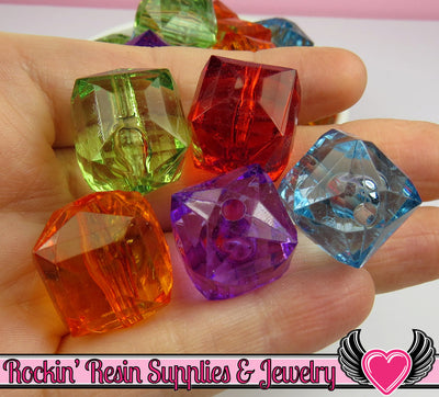20mm Faceted Cube Chunky Bubblegum Beads 8 pieces - Rockin Resin  - 1