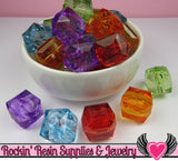 20mm Faceted Cube Chunky Bubblegum Beads 8 pieces - Rockin Resin  - 3
