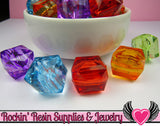 20mm Faceted Cube Chunky Bubblegum Beads 8 pieces - Rockin Resin  - 4