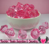 10 Cotton Candy Pink Bling Diamond Pendants Transparent Faceted Drops 22 x 20mm - Rockin Resin  - 2