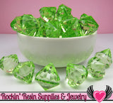 10 Peridot Green Bling Diamond Drop Pendant Beads 22 x 20mm - Rockin Resin  - 2