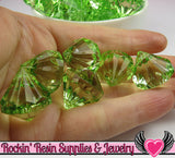 10 Peridot Green Bling Diamond Drop Pendant Beads 22 x 20mm - Rockin Resin  - 4