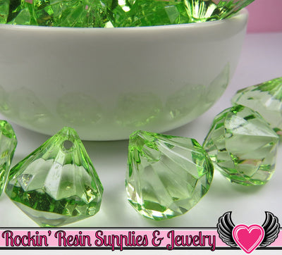 10 Peridot Green Bling Diamond Drop Pendant Beads 22 x 20mm - Rockin Resin  - 1