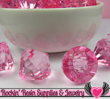 10 Cotton Candy Pink Bling Diamond Pendants Transparent Faceted Drops 22 x 20mm - Rockin Resin  - 3