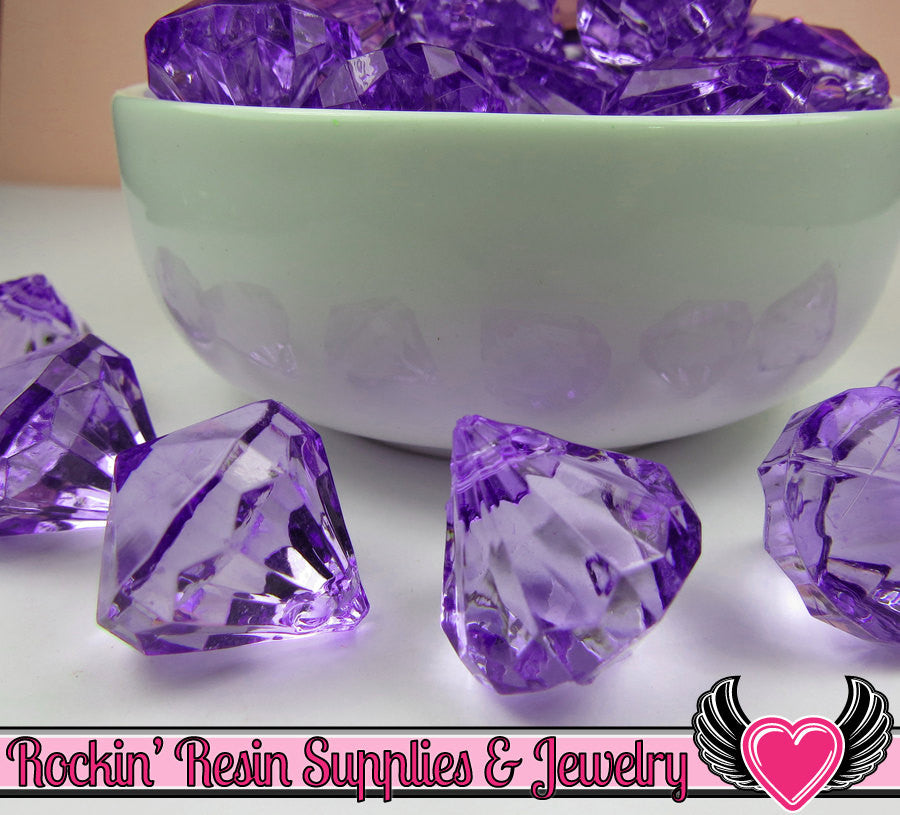 10 Purple Bling Diamond Pendant Drop Beads 22 x 20mm