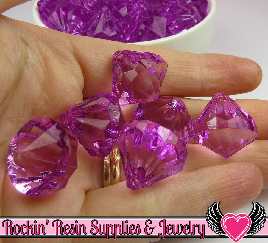 10 Grape Purple Bling Diamond Pendant Drop Beads 22 x 20mm