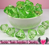 10 Peridot Green Bling Diamond Drop Pendant Beads 22 x 20mm - Rockin Resin  - 3