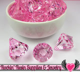 6 Bling Diamond Pendants in Cotton Candy Pink Transparent Faceted Drops 26 x 23mm - Rockin Resin  - 1