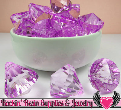 6 Bling Diamond Pendants in Purple Transparent Faceted Drops 26 x 23mm - Rockin Resin  - 1