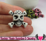 SKULL and CROSS BONE Beads 10 pieces Colorful Assortment Acrylic Skull Beads 23 x 25mm - Rockin Resin  - 3