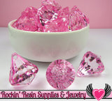 6 Bling Diamond Pendants in Cotton Candy Pink Transparent Faceted Drops 26 x 23mm - Rockin Resin  - 3