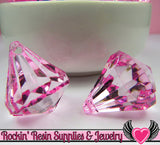 6 Bling Diamond Pendants in Cotton Candy Pink Transparent Faceted Drops 26 x 23mm - Rockin Resin  - 2