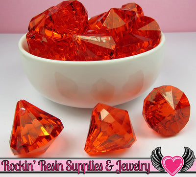 6 Bling Diamond Pendants in Ruby Red Transparent Faceted Drops 26 x 23mm - Rockin Resin  - 1