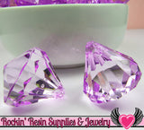 6 Bling Diamond Pendants in Purple Transparent Faceted Drops 26 x 23mm - Rockin Resin  - 2