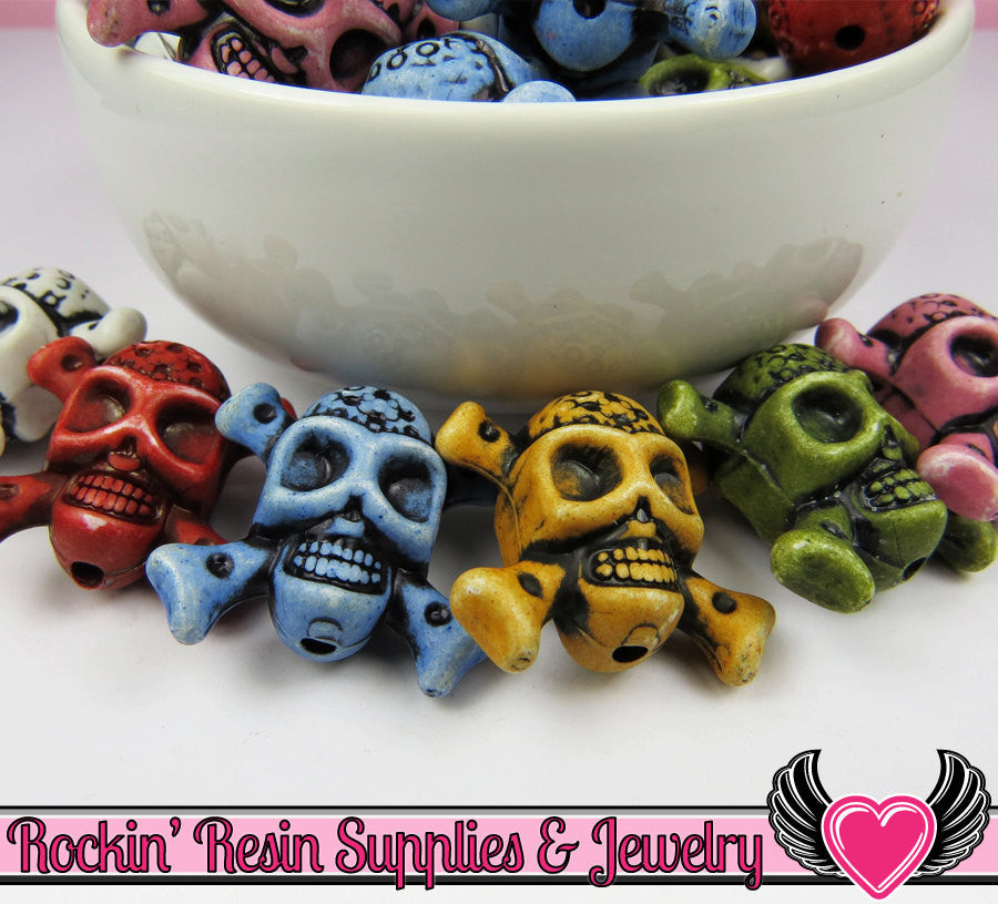 SKULL and CROSS BONE Beads 10 pieces Colorful Assortment Acrylic Skull Beads 23 x 25mm