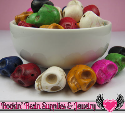 SKULL BEADS 18mm Synthetic Howlite Turquoise 12 pieces Colorful Assortment - Rockin Resin  - 1