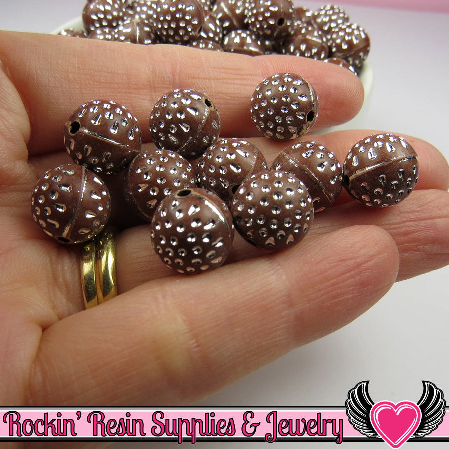 25 Brown Silver Dot Beads 12mm Silver Polka Dot Beads