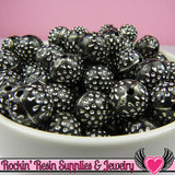 25 BLACK & SILVER Dot Beads 12mm Silver Polka Dot Beads - Rockin Resin  - 2