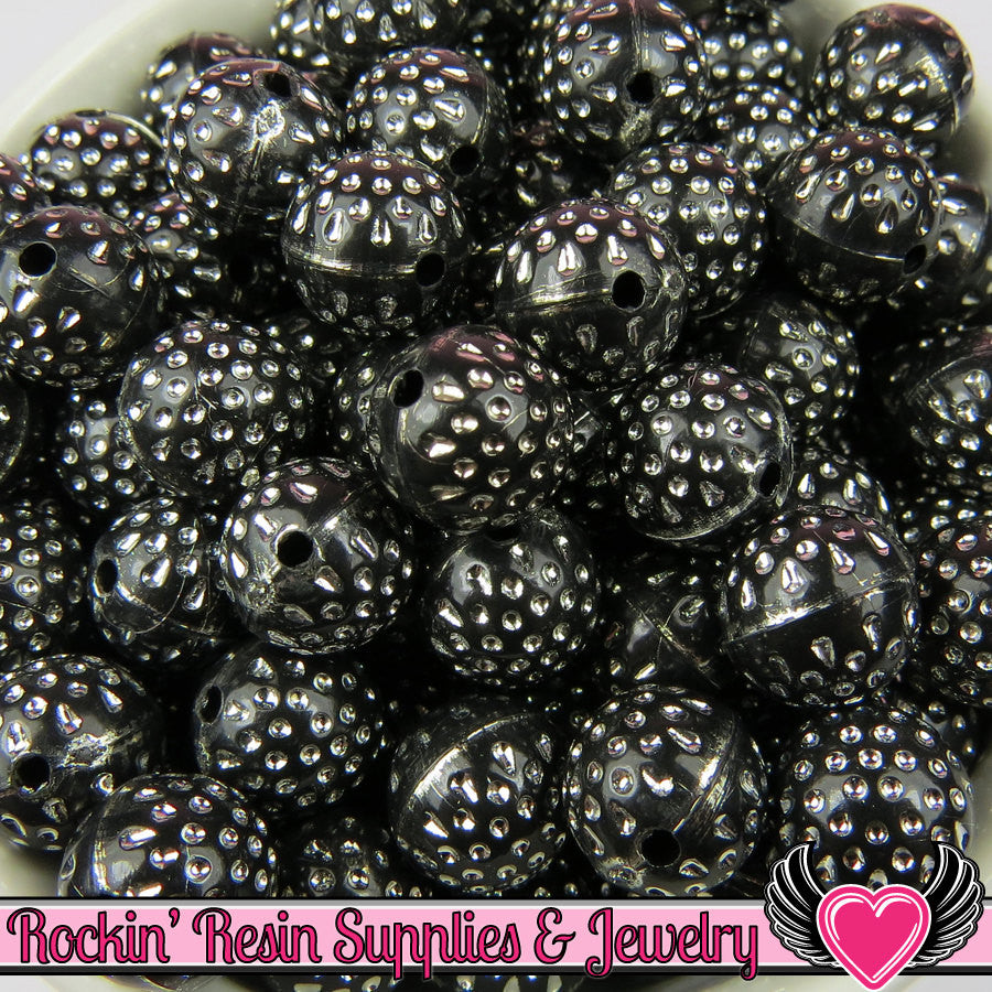 25 BLACK & SILVER Dot Beads 12mm Silver Polka Dot Beads