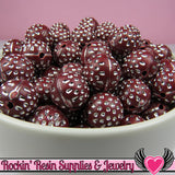 25 MAROON & SILVER Dot Beads 12mm Silver Polka Dot Beads - Rockin Resin  - 3
