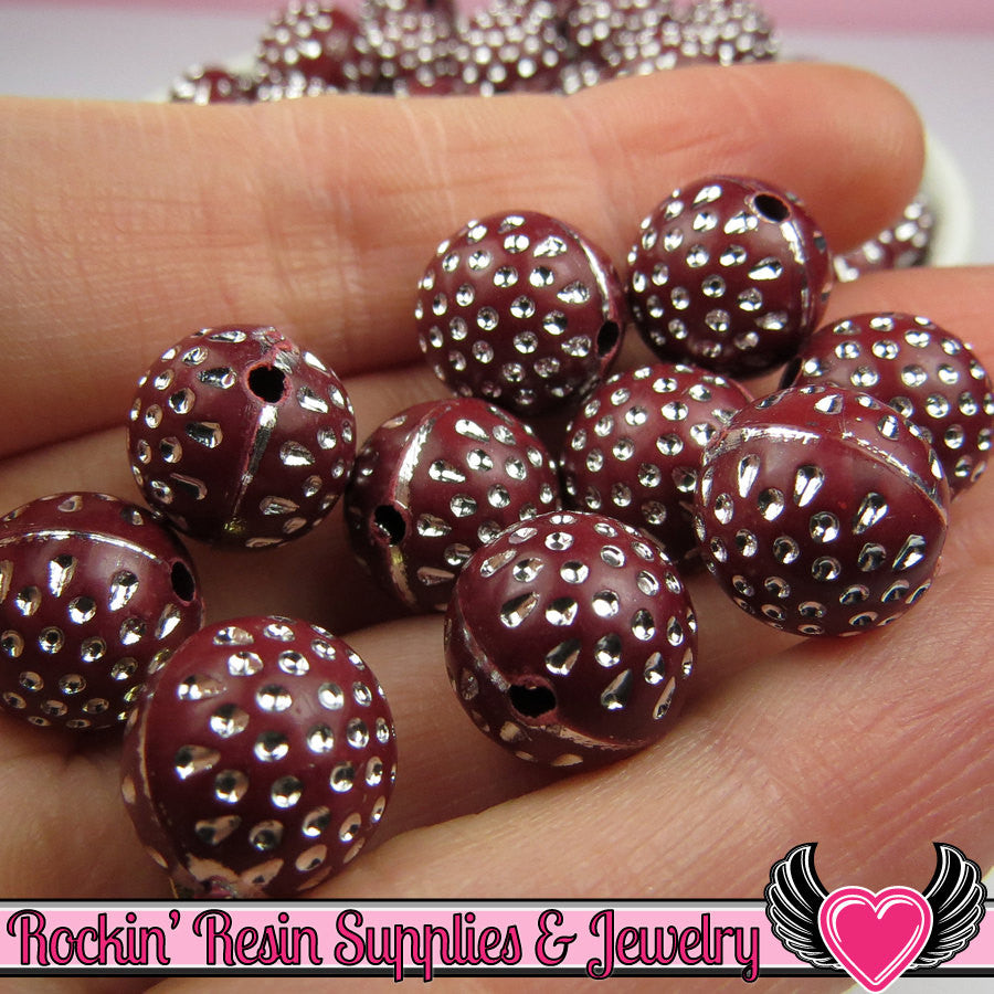 25 MAROON & SILVER Dot Beads 12mm Silver Polka Dot Beads