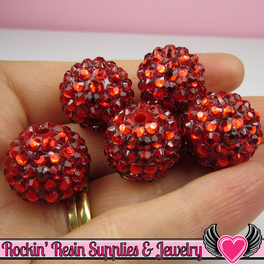 18mm Bubblegum Beads 8 RUBY RED Rhinestone Beads