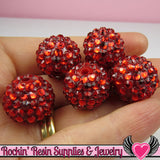 18mm Bubblegum Beads 8 RUBY RED Rhinestone Beads - Rockin Resin  - 1