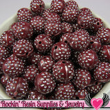 25 MAROON & SILVER Dot Beads 12mm Silver Polka Dot Beads - Rockin Resin  - 2