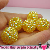 8 pc GOLDEN YELLOW Rhinestone Beads 18mm - Rockin Resin  - 2