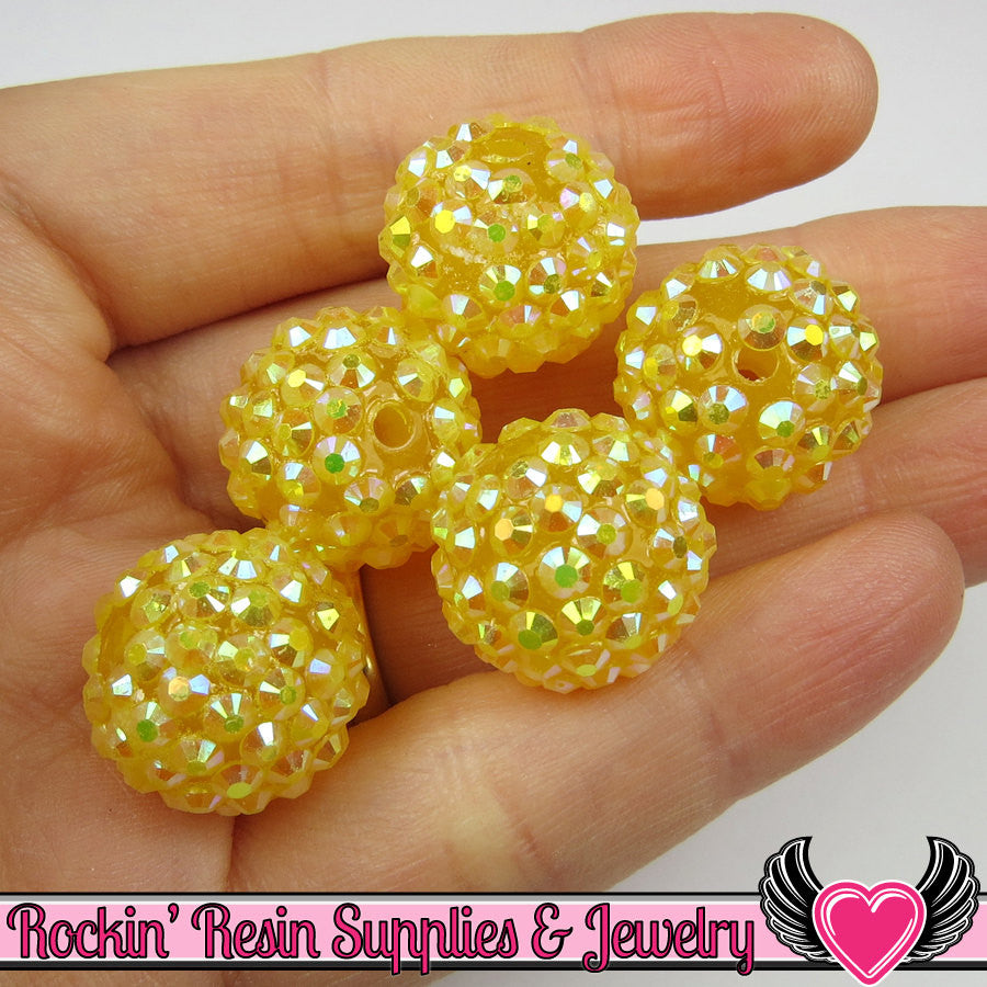 8 pc GOLDEN YELLOW Rhinestone Beads 18mm