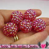8 pc GOLDEN RED Rhinestone Beads 18mm - Rockin Resin  - 1