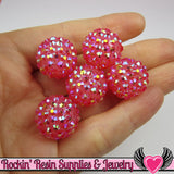 8 pc GOLDEN PINK Rhinestone Beads 18mm - Rockin Resin  - 1
