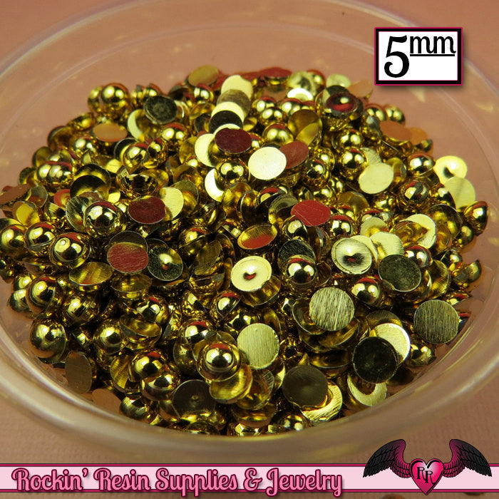 200 pcs 5 mm GOLD Tone HALF PEARLs - Rockin Resin  - 1