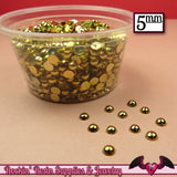 200 pcs 5 mm GOLD Tone HALF PEARLs - Rockin Resin  - 2