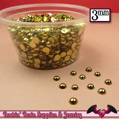 300 pcs 3 mm GOLD Tone HALF PEARLs - Rockin Resin  - 1