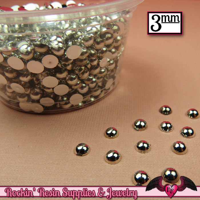 300 pcs 3 mm Silver CHROME HALF PEARLs - Rockin Resin  - 1
