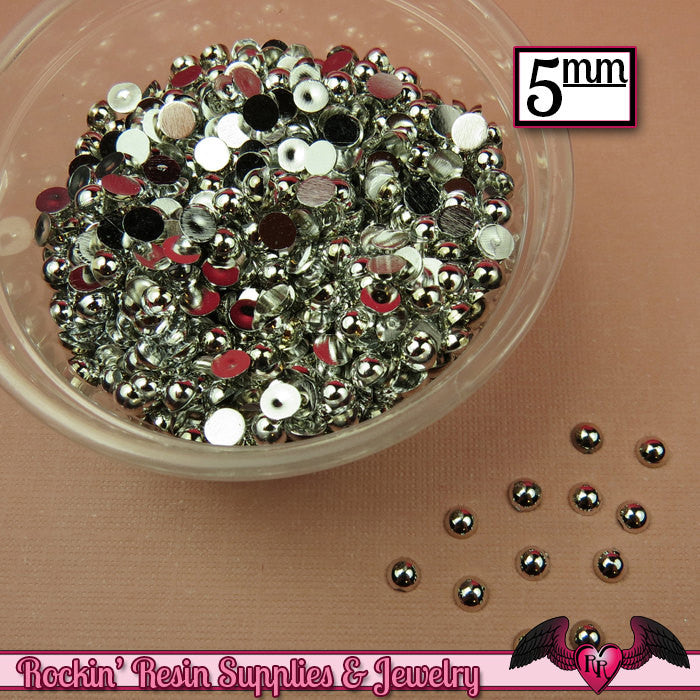 200 pcs 5 mm Silver CHROME HALF PEARLs