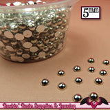 200 pcs 5 mm Silver CHROME HALF PEARLs - Rockin Resin  - 2