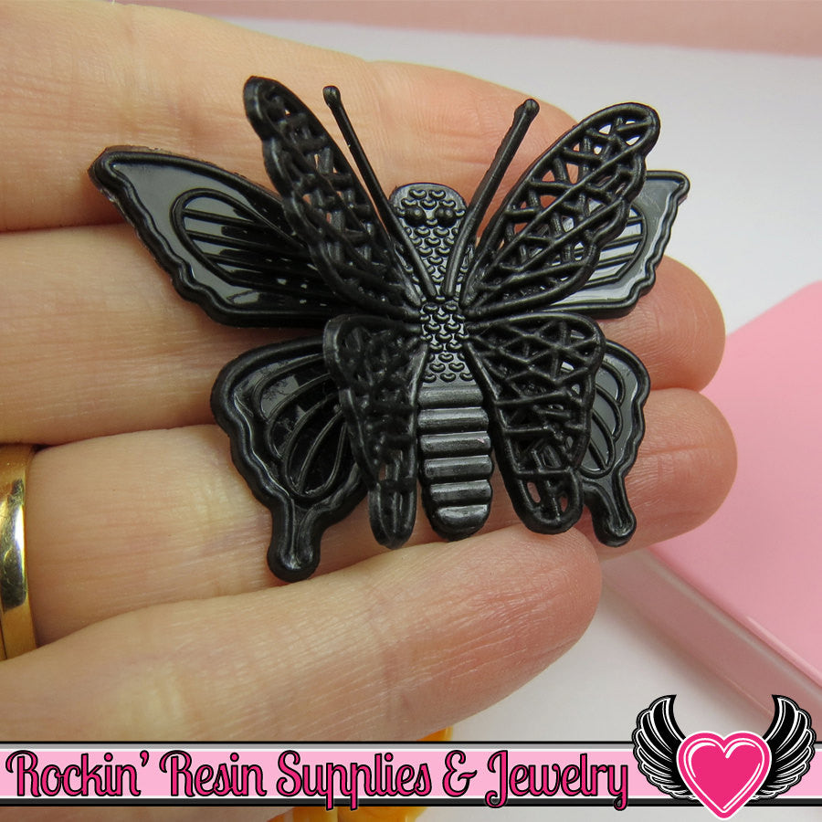 3D style BUTTERFLY Cabochons with flexible wings Flatback Decoden Cabochons Large 50x36mm - Rockin Resin  - 1