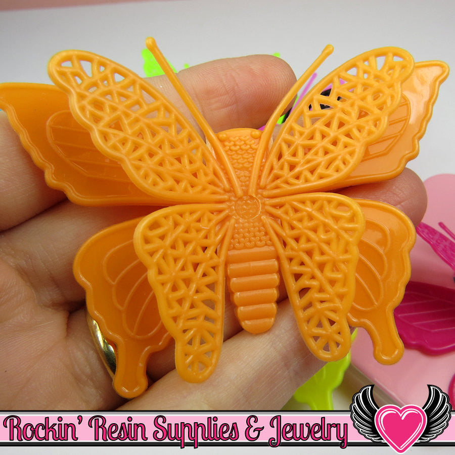 3D style BUTTERFLY XL Cabochons with flexible wings Flatback Decoden Cabochons 78x52mm